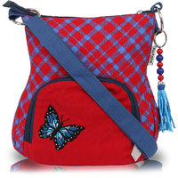 Pick Pocket Red Canvas Sling Bag With A Butterfly Embroidery.