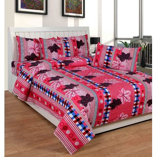 HSR Collection multicolor cotton double bedsheet with 2 pillow cover