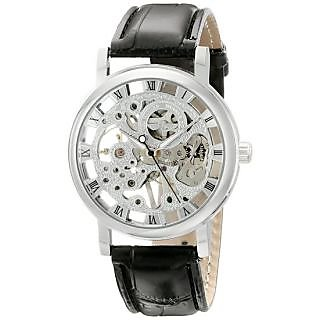 Silver Dial Transparent Skeleton Watch For Men By Thummar
