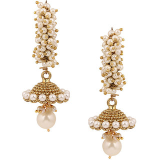 Long Jhumki Earrings Studded with White Pearls