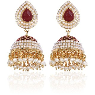 Rajwada Arts Pearl Studded Traditional Jhumki For Women