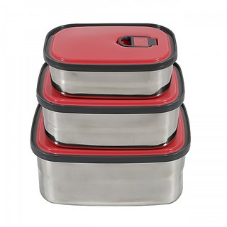Ohanna Rectangle Pink Stainless Steel Homio 3 pcs Lunch Box