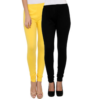 Leebonee Womens Cotton Lycra Legging Black/Lemon Combo of 2 (LeLGG0001BL-LMN)
