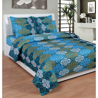 HSR Collection Multicolor Double Bedsheet with 2 pillow covers