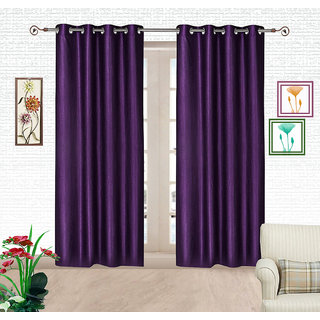 Comfort Zone Polyester Blue Solid Eyelet Door Curtains Set of 2
