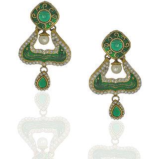 Anuradha Art Trendy  Classy Green Colour Earrings For Women
