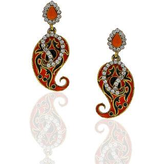 Anuradha Art Orange-Blue Colour Earrings For Women