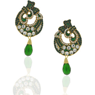 Anuradha Art Trendy  Classy Green Colour Earrings For Women