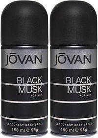 Jovan Black Musk Deodorant Spray (Pack Of 2) Body Mist - For Men (300 Ml)