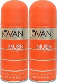 Jovan Musk Deodorant Spray (Pack Of 2) Body Mist - For Men (300 Ml)