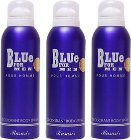 Rasasi 3 Blue For Men Deodorant Spray - For Men (600 Ml)