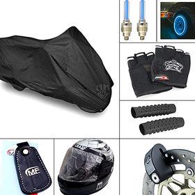 Combo of Bike Body Cover  Helmet + Bar Grip + Riding Gloves + Disc Lock + Key ring + LED Lights