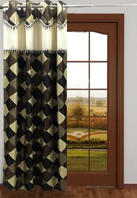 Homefab India Designer Checks Brown Door Curtain
