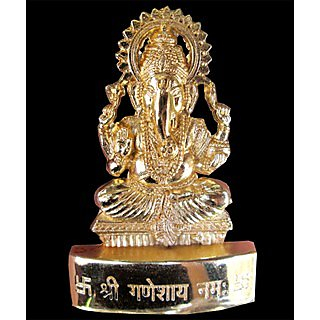 Ganesh Gold Plated Idol - 2.9 inches