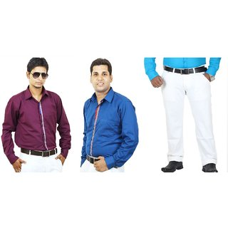 SIERA Firozi and Purple Cotton Casual Shirts with White Jeans