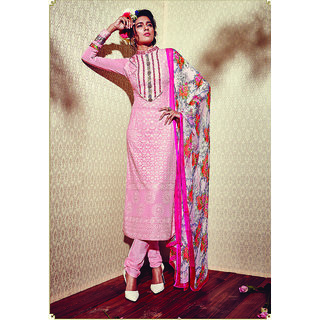 Swaron Light Pink Embroidered Georgette And Santoon Party Wear Salwar Suit 357D5901