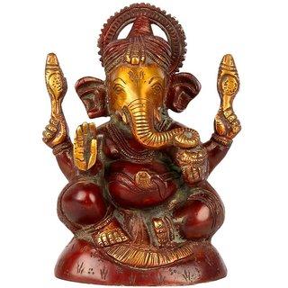 Brass Chaturbhuj Lord Ganesh Sitting Idol (6.5 inch)