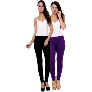 Leebonee Womes Cotton Lycra Legging Black/Violet Combo of  2 (LeLGG0001BL-VLT)