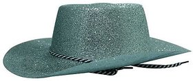 Glitter Cowboy Party Hat-Silver (Pack Of 5)