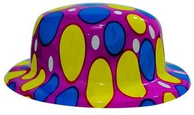 Polka Dotted Plastic Hat-Pink (Pack Of 5)