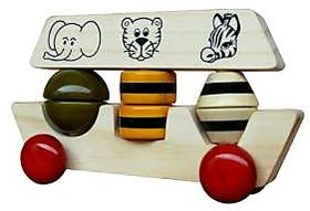 Maya Organic Handcrafted wooden toy - Noahs Ark (Stacker and push toy)
