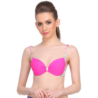 Clovia Polyamide Printed Back Band Bra In Hot Pink -Br0558P14