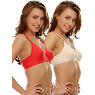 Clovia Cotton Rich T Shirt Bra With Cross-Over Moulded Cups In Nude  Red-Brc016P20