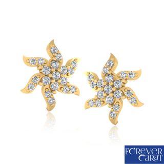 Certified Natural 0.23ct Diamond Earring Set 14K Hallmarked Gold Stud ER-0216