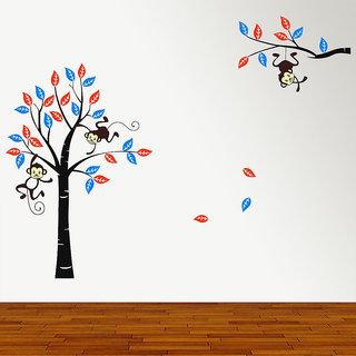 New Way Decals- Wall Sticker (9622) Monkey With Decorative Tree Design