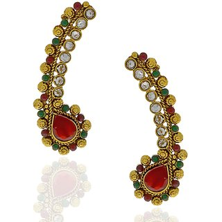 Anuradha Art Golden Colored Ear-Cuffs With Multi Colored Stones