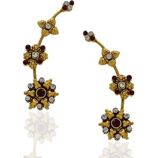 Anuradha Art Golden Colored Ear-Cuffs With Maroon Colored Stones