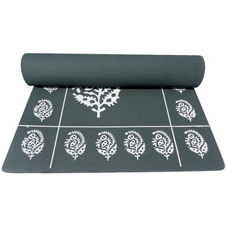 Gravolite 7MM Thickness  2 Feet wide 6.5 Feet length Bottle Green Floral Yoga Mat with Strap  Carry Bag