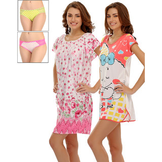 Clovia Pack Of 4 Nightdress With Panty-Nsc529P90