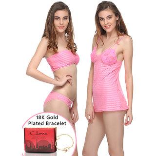 Clovia Gift Set 3 Pc Stretch Satin Tube Bra, Nighty And Panty In Pink With 18K Bracelet  Gift Box-Nsfg02P22