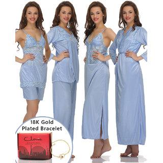 Clovia Gift Set 6 Pcs Satin Nightwear Set In Light Blue With 18K Bracelet  Gift Box-Nsfg03P03