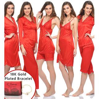 Clovia Gift Set 9 Pc Lacy Nightwear Set In Red With 18K Bracelet  Gift Box-Nsfg05P04