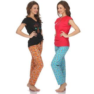 Clovia Cotton T-Shirt And Pyjama Set In Pink And Orange-Lsc004P90