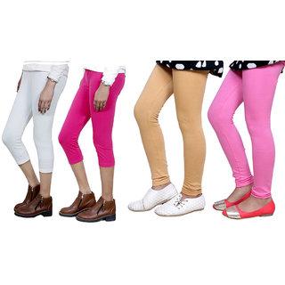 IndiWeaves Girls Cotton Legging with Cotton Capri Set of- 4 71801300009-IW