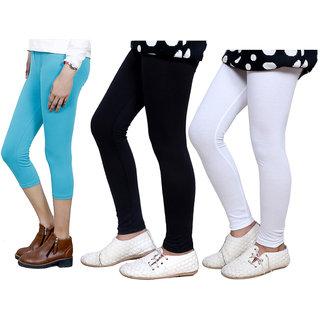 IndiWeaves Girls Cotton Legging with Cotton Capri 718037140503-IW