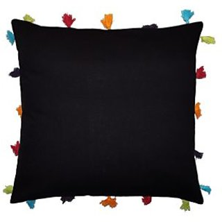 Lushomes Pirate Black Cotton Cushion Cover with Pom Pom - Pack of 1