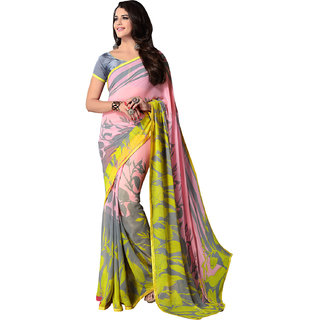 Pink and Mustered georgette Printed Saree
