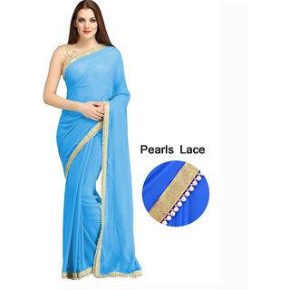 Designer Aqua Blue Pearl Moti Border Georgette Party Wear Saree - 0004