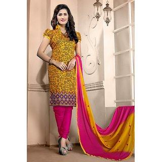 Sareemall Yellow Tussar Silk Printed Salwar Suit Dress Material (Unstitched)