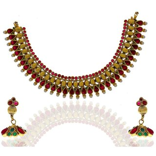 Anuradha Art Gorgeous Traditional Necklace Set With Multi Colored Stones
