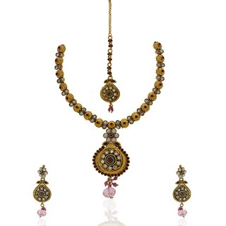 Anuradha Art Absolutely Graceful Multi Colored Traditional Necklace Set For Women