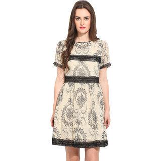 Rena Love Beige Printed A Line Dress For Women