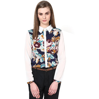 The Gud Look Multi Polyester Button down Printed Shirt
