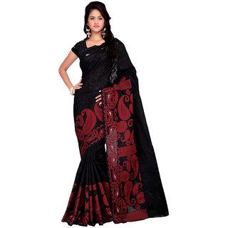 Sareemall Black Tussar Silk Printed Saree With Blouse