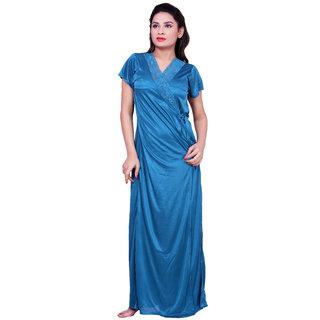 Choosy Cheery Blue Lycra Silk 4 Piece Set For Women