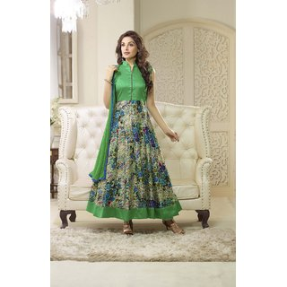 Thankar Green And Multy Printed Bhagalpuri Print Anarkali Suit